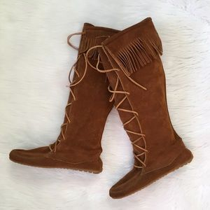 Minnetonka Leather Fringe Knee High Boots